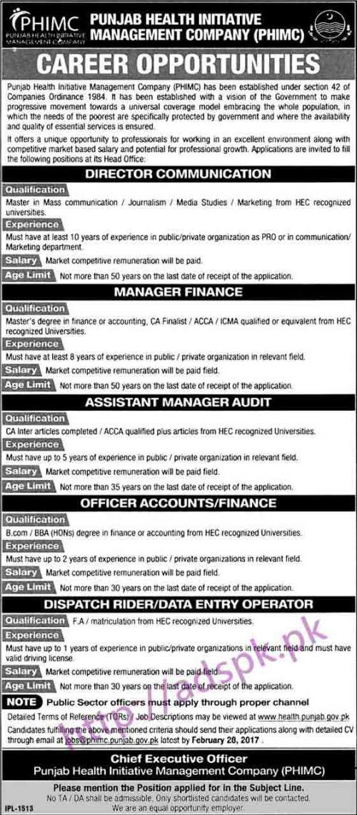 New Career Jobs Punjab Health Initiative Management Company PHIMC Lahore Jobs for Director Communication Manager Finance Assistant Manager Data Entry Operator Application Deadline 28-02-2017 Apply Now