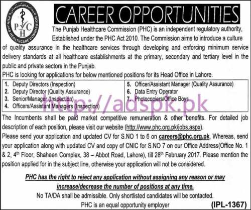 New Career Jobs Punjab Healthcare Commission Lahore for Various Jobs Application Deadline 28-02-2017 Apply Now