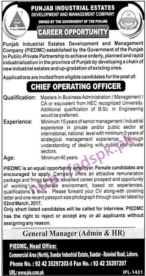 Chief Executive Officers Job In Punjab Industrial Estate