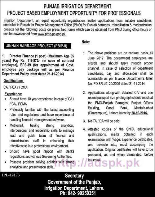New Career Jobs Punjab Irrigation Department Jinnah Barrage Project Professionals Jobs for Director Finance Application Deadline 28-10-2016 Apply Now