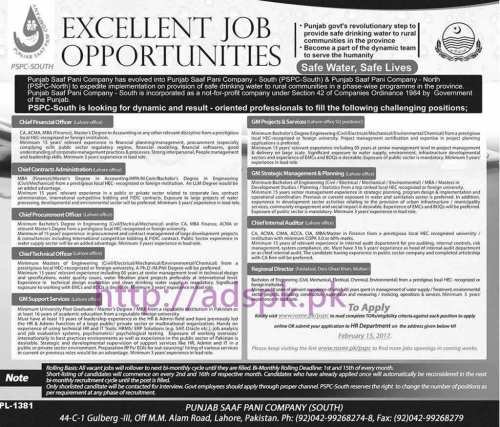 New Career Jobs Punjab Saaf Pani Company (PSPC-South) Jobs for Chief Financial Officer General Managers Application Deadline 15-02-2017 Apply Now