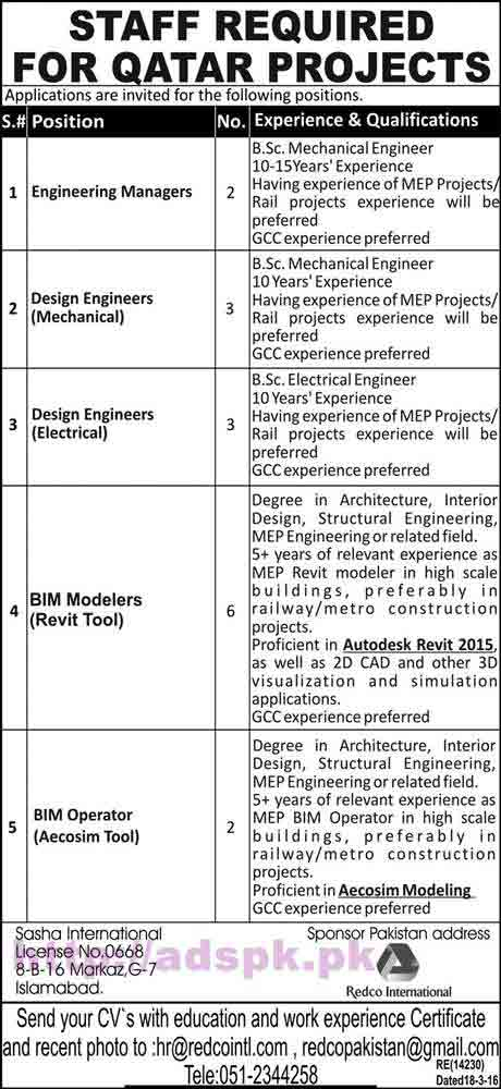 New Career Jobs Redco International Qatar Projects Jobs