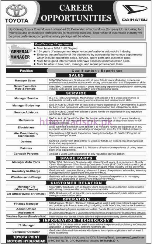 New Career Jobs Toyota Point Motors P.O Box 31 GPO Hyderabad Jobs for General Manager (Sales Service Spare Parts Customer Relation Operation Information Technology) Application Deadline 05-03-2017 Apply Now