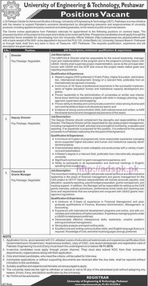 New Career Jobs UET Peshawar Jobs for Director Deputy Director Financial & Grants Manager Application Deadline 18-11-2016 Apply Now