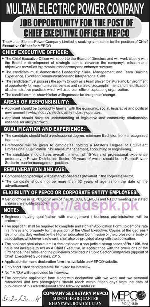 New Career MEPCO Excellent Jobs Multan Electric Power Company Jobs for Chief Executive Office MEPCO Application Deadline 07-11-2016 Apply Now