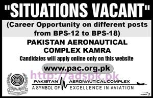 New Career Situations Vacant PAC Pakistan Aeronautical Complex Kamra Jobs Opportunity on Different Posts from BPS-12 to BPS-18 Candidate wills Apply Online only on PAC Website Apply Now
