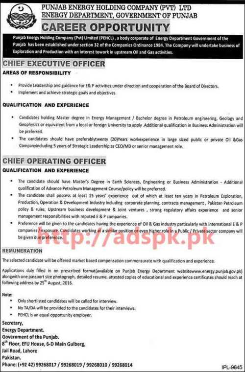 New Excellent Career Jobs Energy Department Punjab Govt. Punjab Energy Holding Company Pvt. Ltd Lahore Jobs for Chief Executive Officer and Chief Operating Officer Application Deadline 25-08-2016 Apply Now