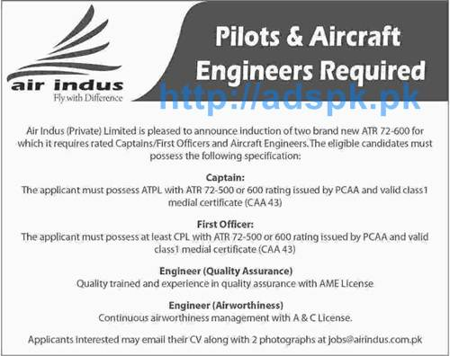 New Excellent Jobs Air Indus Pvt. Limited Pakistan Jobs for Pilots and Aircraft Engineers Apply Online Now