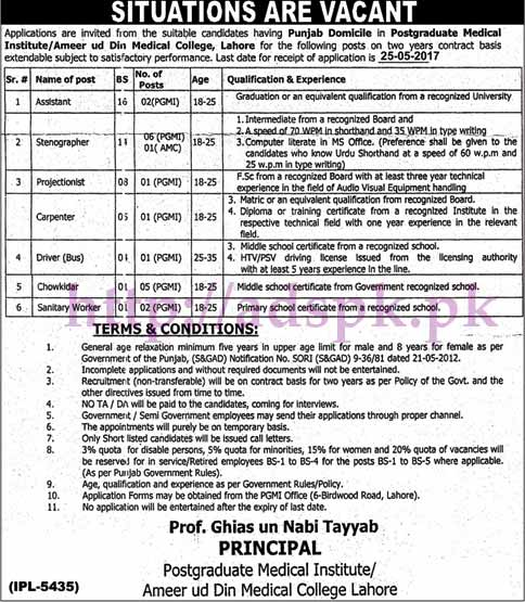 New Jobs Ameer ud Din Medical College Lahore Postgraduate Medical Institute Jobs 2017 for Assistant Stenographer Projectionist Jobs Application Deadline 25-05-2017 Apply Now