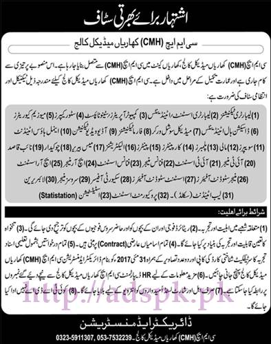 New Jobs CMH Kharian Medical College Jobs 2017 for Laboratory Technicians Lab Assistant Computer Operators Steno Typist and Other Various Staff Jobs Application Deadline 31-05-2017 Apply Now