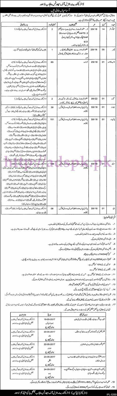 New Jobs Directorate General of Sports Govt. of Punjab Lahore Jobs 2017 for Stenographer Naib Qasid Cook Beldar Plumber Chowkidar Jobs Application Deadline 18-05-2017 Interview Schedule Apply Now