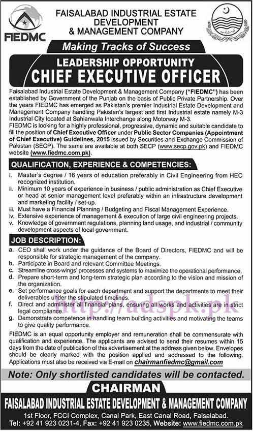 New Jobs Faisalabad Industrial Estate Development & Management Company Govt. of Punjab FIEDMC Jobs 2017 for Chief Executive Officer Jobs Application Deadline 29-05-2017 Apply Now