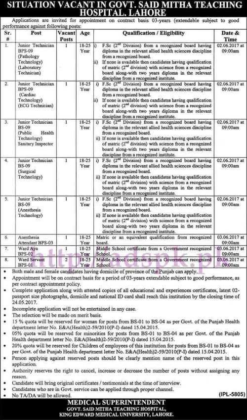 New Jobs Govt. Said Mitha Teaching Hospital Lahore Jobs 2017 for Junior Technicians (Various Disciplines) and Other Staff Jobs Application Deadline 24-05-2017 Apply Now