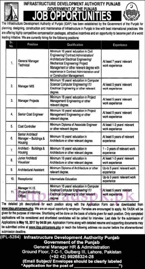 New Jobs IDAP Punjab Govt. Infrastructure Development Authority Punjab Jobs 2017 for General Manager Technical Managers MIS Projects H.I.S (PMO) Senior Cost Engineer Cost Controller Jobs Application Deadline 18-05-2017 Apply Now