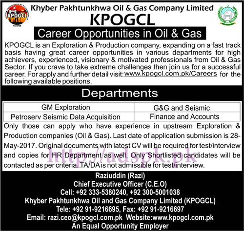 New Jobs KPOGCL Khyber Pakhtunkhwa Oil & Gas Company Limited Jobs 2017 for GM Exploration G&G and Seismic Jobs Application Deadline 28-05-2017 Apply Now