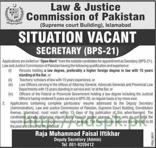 New Jobs Law and Justice Commission of Pakistan Islamabad Jobs 2017 for Secretary Jobs Application Deadline 03-08-2017 Apply Now