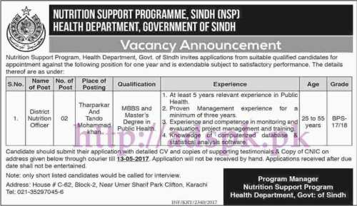 New Jobs Nutrition Support Program Sindh (NSP) Health Department Sindh Govt. Karachi Jobs 2017 for District Nutrition Officer Jobs Application Deadline 13-05-2017 Apply Now