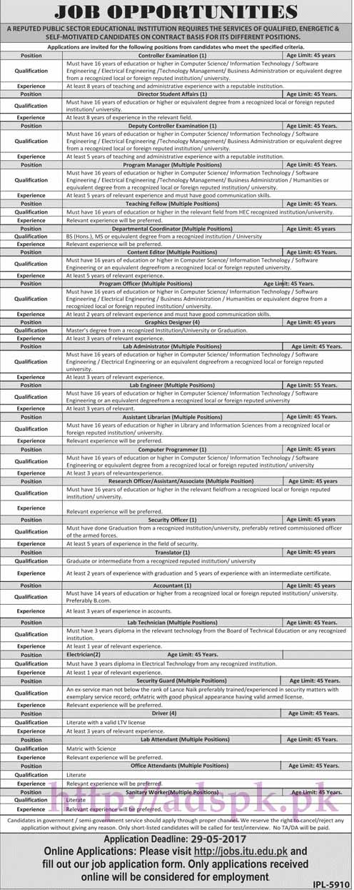 New Jobs Public Sector Educational Institution Jobs 2017 for Controller Examination Director Student Affairs Program Manager Graphics Designer Programmer Jobs Application Deadline 29-05-2017 Apply Online Now