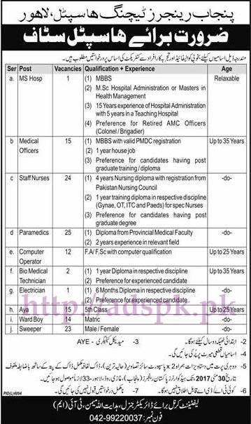 New Jobs Punjab Rangers Teaching Hospital Lahore Jobs 2017 for MS Medical Officers Staff Nurses Paramedics Computer Operator Jobs Application Deadline 30-05-2017 Apply Now