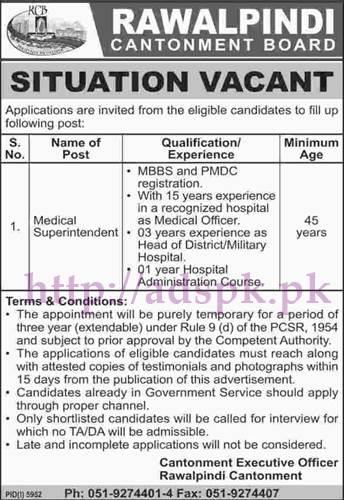 New Jobs Rawalpindi Cantonment Board Jobs 2017 for Medical Superintendent Jobs Application Deadline 26-05-2017 Apply Now