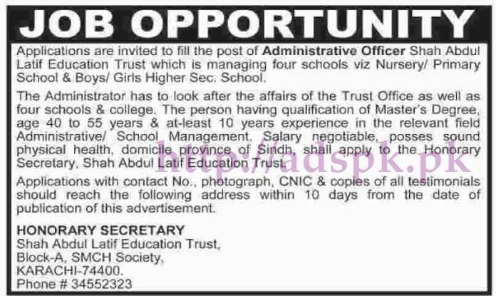 New Jobs Shah Abdul Latif Education Trust Karachi Jobs for