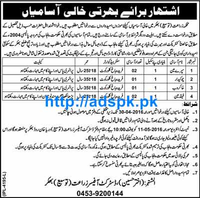 New Jobs in Agriculture Department District Bhakkar Jobs