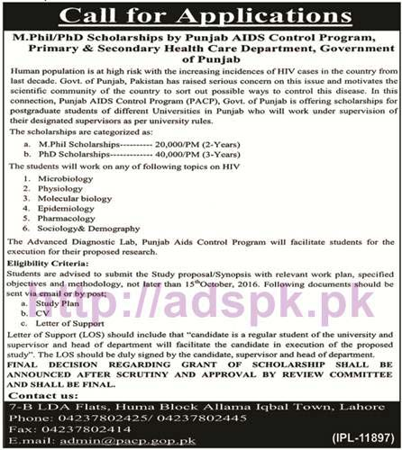 New Scholarships Program for M.Phil & PhD by Punjab AIDS Control Program Primary & Secondary Healthcare Department Punjab Govt. Application Deadline 15-10-2016 Apply Now
