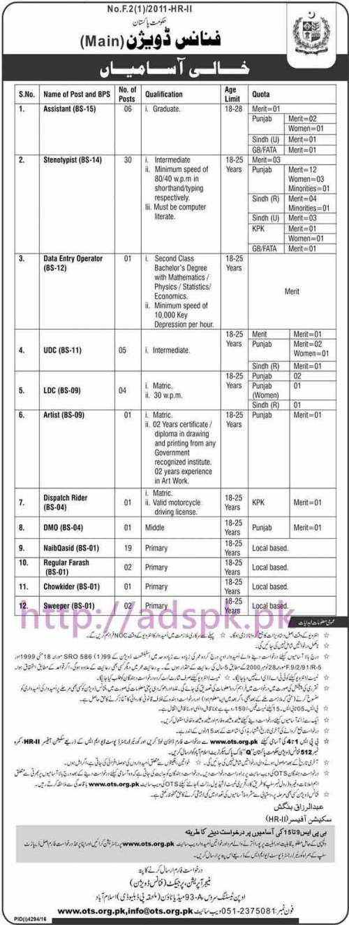 OTS New Career Excellent Jobs Finance Division (Main) Government of Pakistan Jobs Written Test Syllabus Paper for BPS-09 to BPS-15 Assistant Steno Typist Data Entry Operator UDC LDC and Other Staff Jobs Application Form Deadline 05-03-2017 Apply Now by Open Testing Service