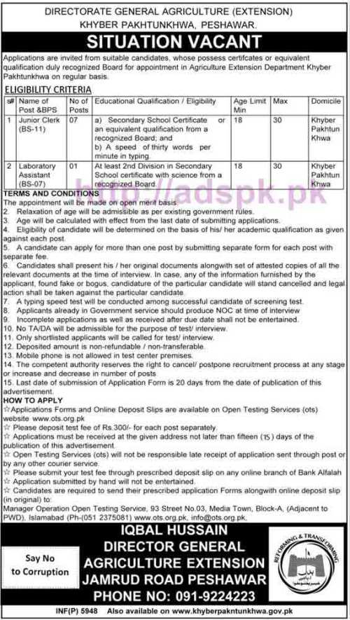 OTS New Career Jobs Agriculture Extension Department KPK Peshawar Jobs Written Test Syllabus for Junior Clerk & Laboratory Assistant Application Form Deadline 30-10-2016 Apply Now by Open Testing Service