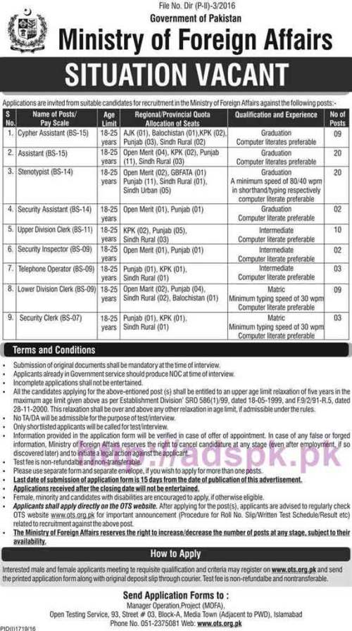 OTS New Excellent Career Jobs Ministry of Foreign Affairs Government of Pakistan Jobs Written Test Syllabus for Cypher Assistant Steno Typist Security Assistant UDC LDC Application Form Deadline 24-10-2016 Apply Now by Open Testing Service