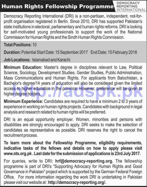 OTS is conducting Screening test for Human Rights - Paid Fellowship Program for Democracy Reporting International Application Form Deadline 23-07-2017 Apply Online Now by Open Testing Service