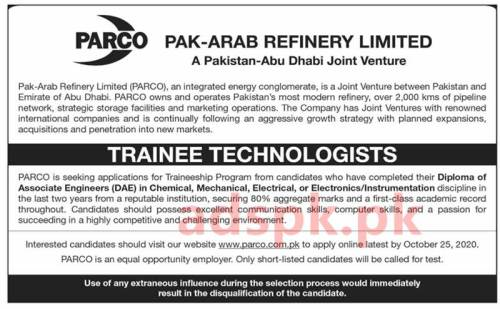 PARCO Traineeship Program 2020 Trainee Technologists for DAE Diploma of Associate Engineers in Chemical Mechanical Electrical Electronics Application Deadline 25-10-2020 Apply Online Now