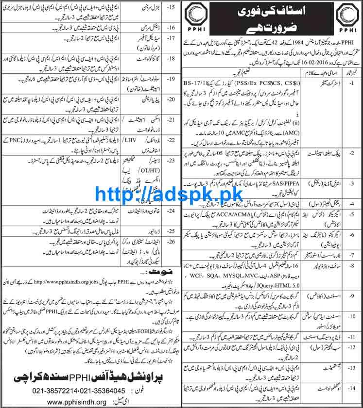 PPHI Karachi Sindh Jobs 2016 for District Manager Public