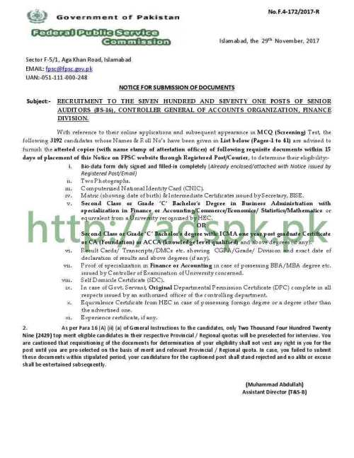 Senior Auditor Results F.4-172/2017 FPSC 3192 Candidates Name Roll Number Wise List Controller General of Accounts Organization Finance Division FPSC Results Updated on 29-11-2017 by Federal Public Service Commission Islamabad
