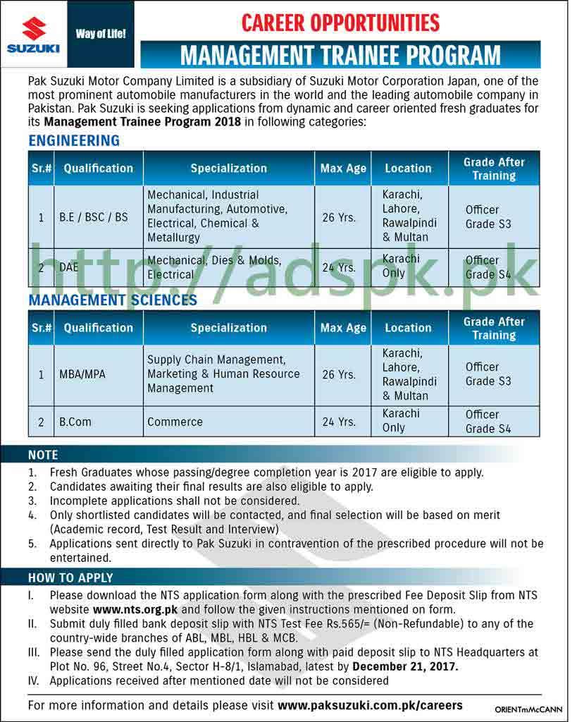 Pak Suzuki Motor Company Limited Management Trainee
