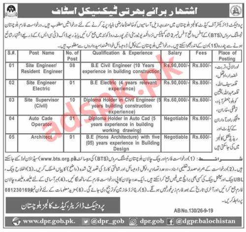 Project Director of Cadet Colleges Balochistan Jobs 2019 BTS Written Test MCQs Syllabus Paper for Site Engineers Site Supervisor AutoCAD Operator Architect Jobs Application Form Deadline 12-10-2019 Apply Now