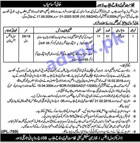 Punjab Civil Defence Department Multan Disable Quota Jobs