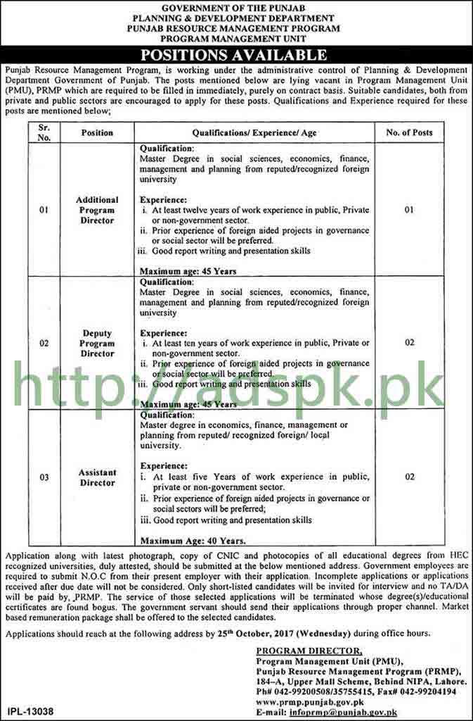 Punjab Planning and Development Department PRMP-PMU Lahore