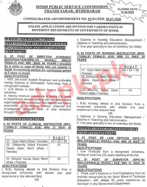 SPSC Ad No. 05/2020 for Nursing Instructor Clinical Instructor Director Computer Director (Forensic Investigation) Law Officer Jobs Application Form Deadline 31-08-2020 Apply Online Now