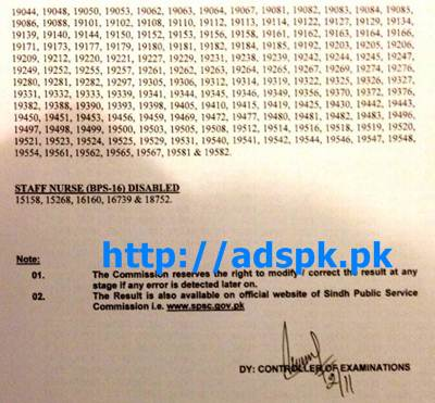 SPSC Jobs Written Test Results of Staff-Nurse BPS-16 in Health Department Govt. of Sindh Result Updated on 02-11-2015 by SPSC Pakistan