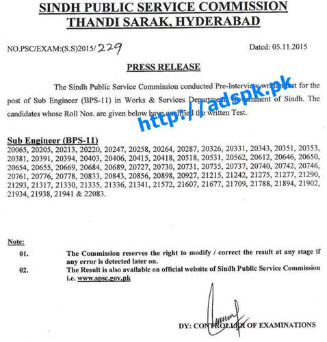 SPSC Jobs Written Test Results of Sub Engineer (BPS-11) in Works & Services Department Govt. of Sindh Results Updated on 05-11-2015 by Sindh Public Service Commission Hyderabad Pakistan