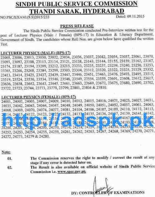 SPSC Latest Written Test Job Results of Lecturer Physics (Male-Female) (BPS-17) in Education & Literacy Department Govt. of Sindh Results Updated on 09-11-2015 by SPSC
