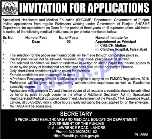 Specialized Healthcare and Medical Education (SHC&ME) Department Punjab Government Lahore Jobs 2020 for Dean Jobs Application Deadline 05-05-2020 Apply Now