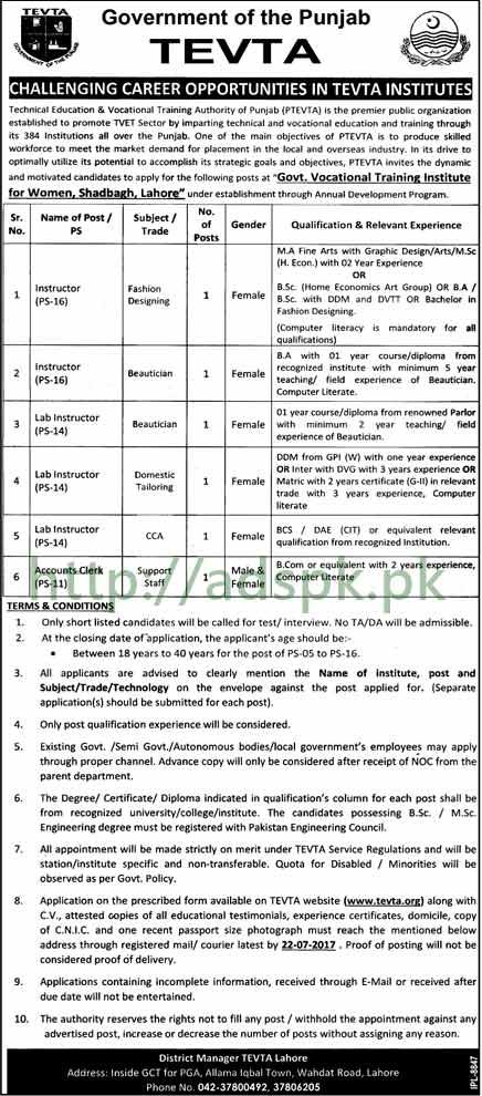 TEVTA Punjab Govt. Jobs 2017 for Instructors Accounts Clerk Jobs Application Deadline 22-07-2017 Apply Now
