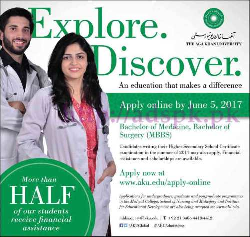 The Aga Khan University Admissions Open 2017 for Bachelor of Medicine Bachelor of Surgery (MBBS) Application Deadline 05-06-2017 Apply Online Now