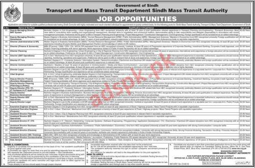 Sindh Mass Transit Authority SMTA Jobs 2019 CTS Written Test MCQs Syllabus Paper for Directors Deputy Managing Directors Chief Engineer Executive Engineer Assistant Executive Engineer Deputy Directors Assistant Directors Jobs Application Form Deadline 04-10-2019 Apply Now