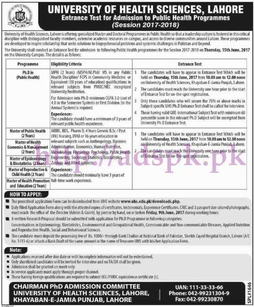 UHS University of Health Sciences Lahore Entrance Test for Admissions to Public Health Programs 2017-2018 Application Form Deadline 09-06-2017 Apply Now