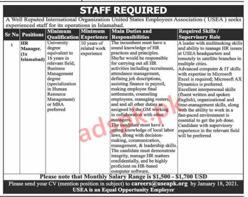 United States Employees Association USEA Islamabad Jobs 2021 for HR Manager (Monthly Salary Range is 1500USD to 1700USD) Jobs Application Deadline 18-01-2021 Apply Online Now