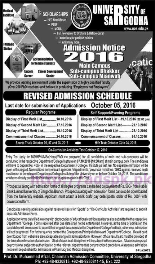 University of Sargodha Admissions 2016 Main Campus Sub Campus Bhakkar Mianwali Revised Admission Schedule Application Form Deadline 05-10-2016 Apply Now