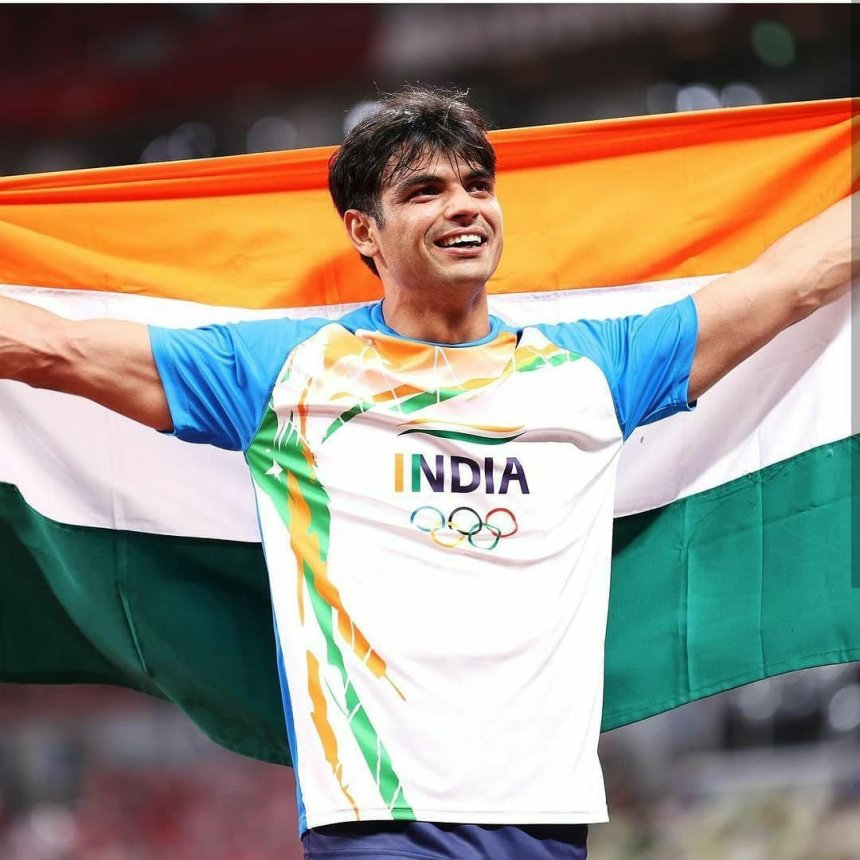 Neeraj Chopra photo with Olympic Gold